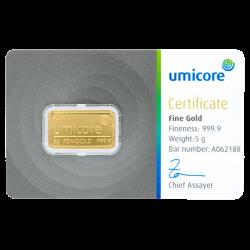 Goudbaar Umicore 5 gram met certificaat