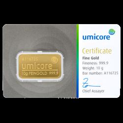 Goudbaar Umicore 10 gram met certificaat