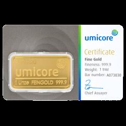 Goudbaar Umicore 31,1 gram met certificaat