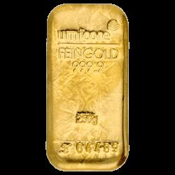 Goudbaar Umicore 250 gram met certificaat