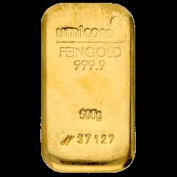 Goudbaar Umicore 500 gram met certificaat
